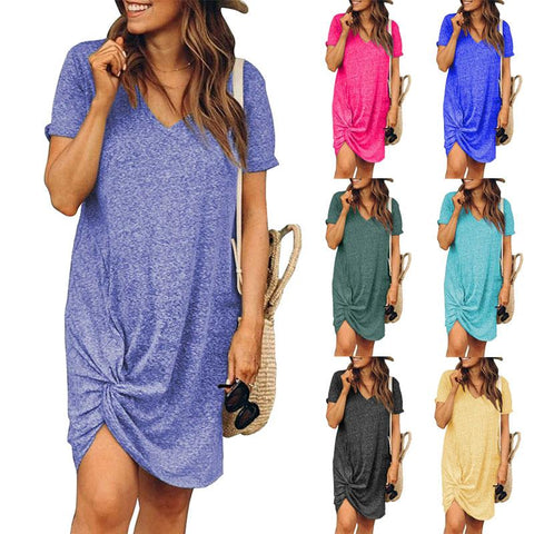 Women Casual Plain Short Sleeve Round Neck Knotted Dress