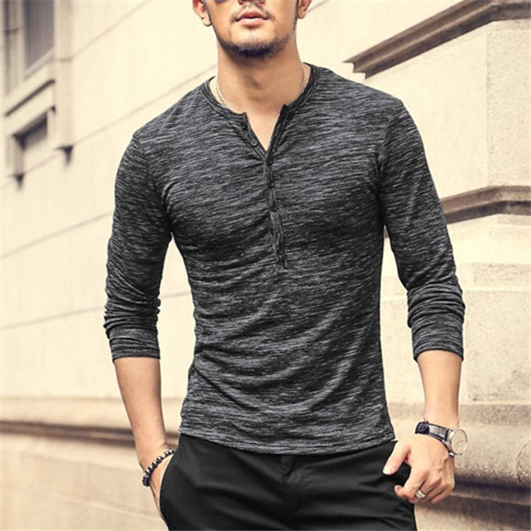 Casual Long Sleeve Henley T-shirt