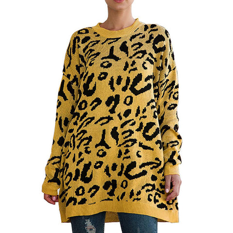 Long Sleeve Leopard Print Crew Neck Knitted Pullover Women Sweaters Tops