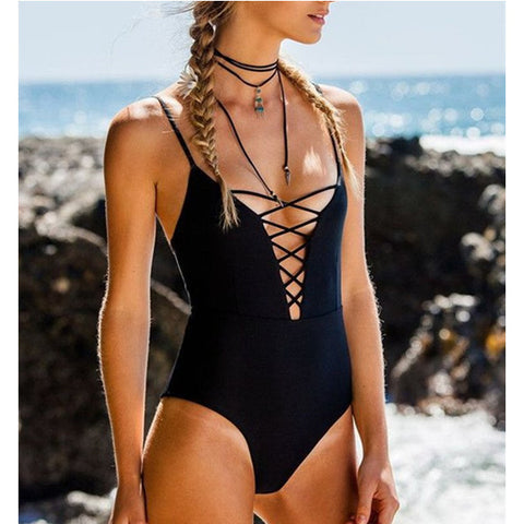Drawstring Strap One-piece Swimsuit
