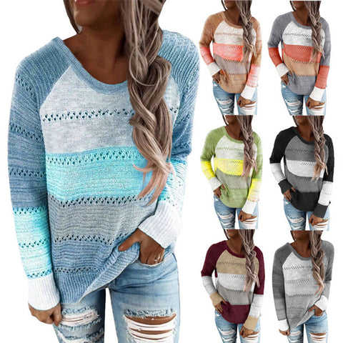 Women Fashion Stripe Color Block Round Neck Long Sleeve Knitted Pullover Sweater Tops
