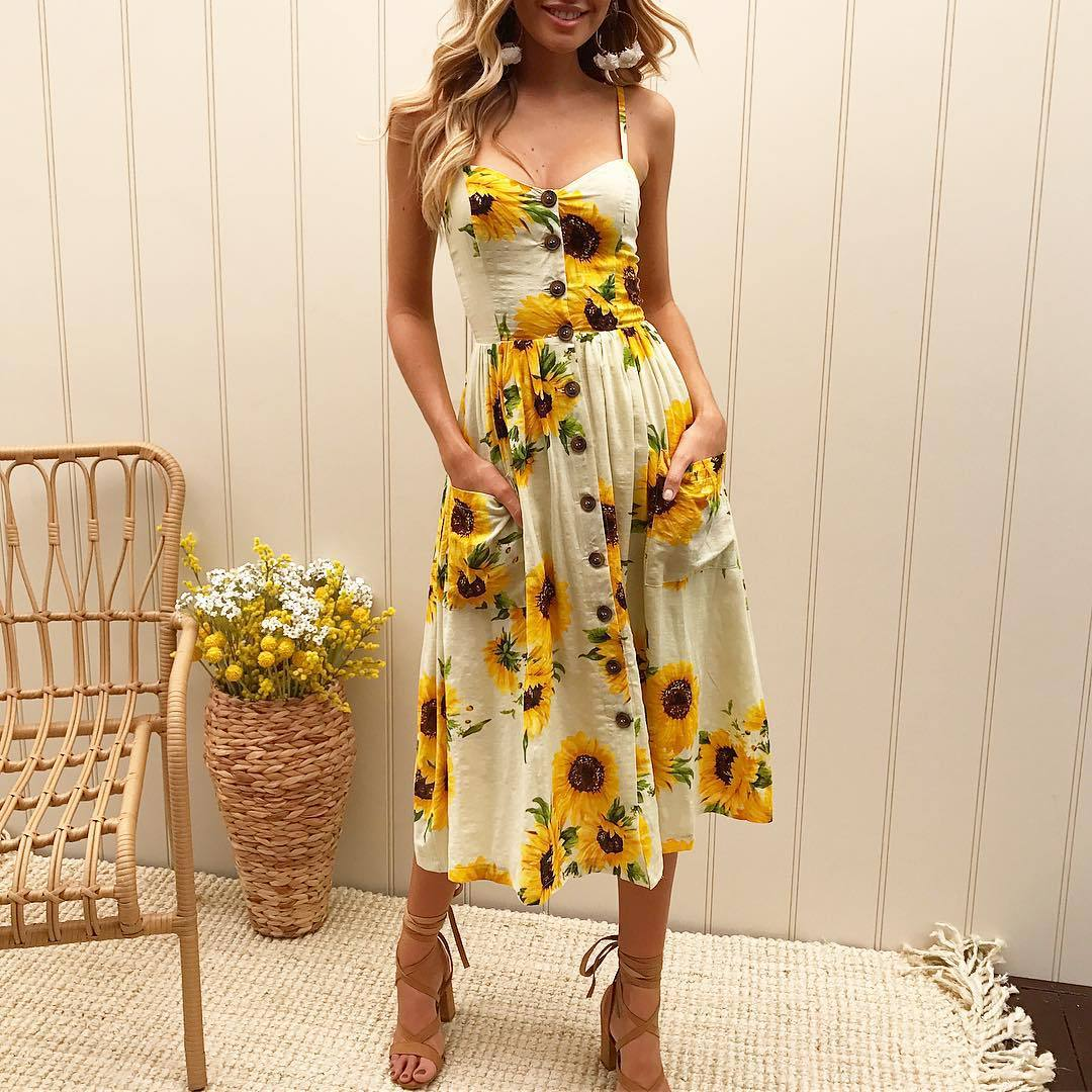 Sunflower Print Button Up Spaghetti strap A Line Dress Pocket (Clearance Price )