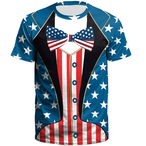 3D American Flag Printed Short Sleeve T-shirt