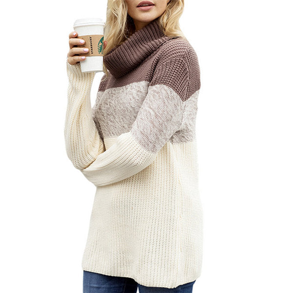 High Collar Long Sleeve Pullover Sweater