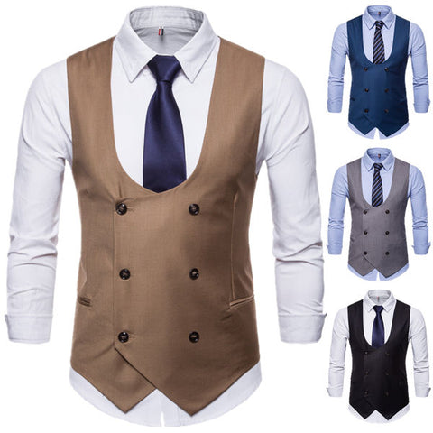 U-neck Solid Color Double Breasted Suit Vest Waistcoat