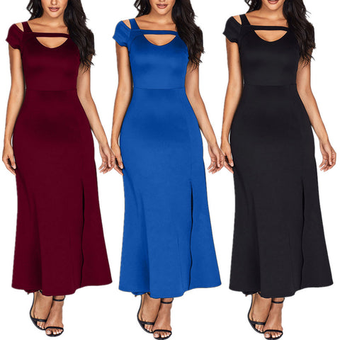 Cold Shoulder Front Slit Flare Maxi Long Dress Summer Evening Party Dress