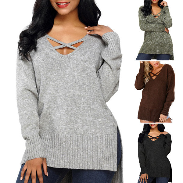 Women's Long Sleeve Cross V-Neck Sweater