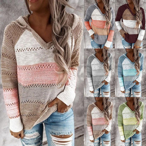 Women Fashion V Neck Long Sleeve Casual Hooded Knitted Sweaters Tops