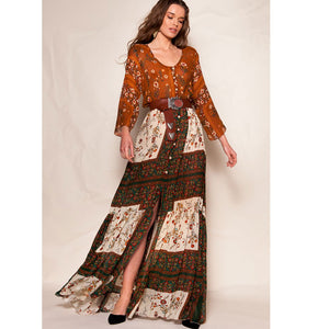 Women Fashion Floral Patchwork Round Neck Long Sleeve Split Maxi Dress Casual Holiday Beach Long Dress