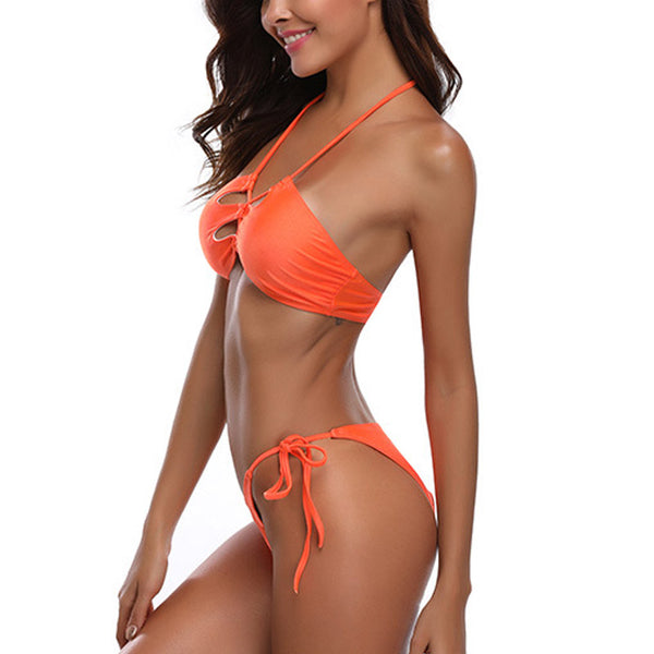 Halter Low Waist Solid Color Bikini Set