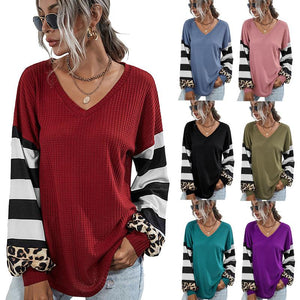 Women Loose Leopard Stripe Patchwork V Neck Long Sleeve T-shirt Blouse Tops