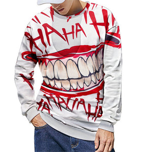 Halloween Horror Teeth Digital Print Men's Sweatshirt