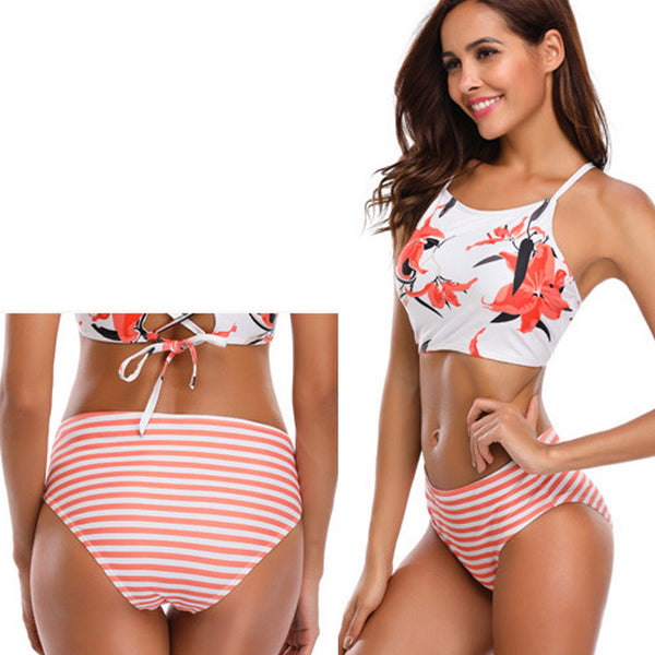 Backless Strap High Waist Bikini Set