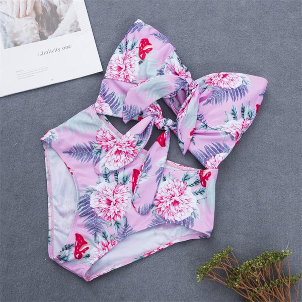 Bow Tie Print One-Piece Women's Swimwear