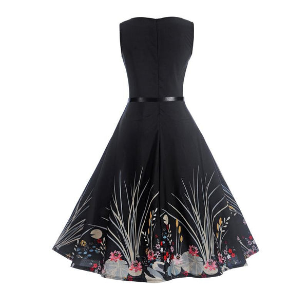 Summer  Vintage Ball Gown Party Black Dress