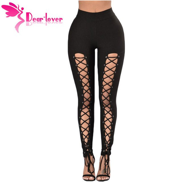 Plus Size Fitness Lace Up Front Leggings