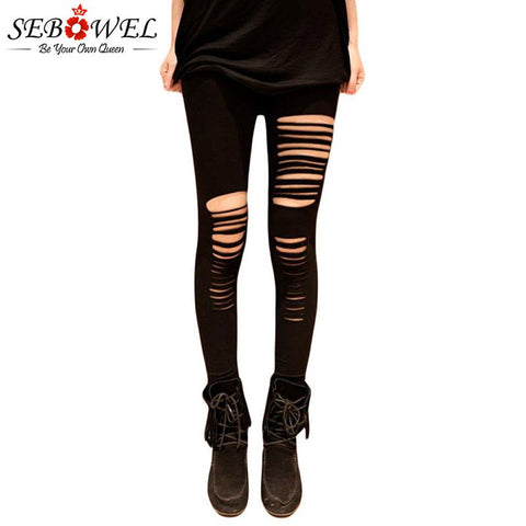 Black Ripped Slim Fit Hollow Out Leggings