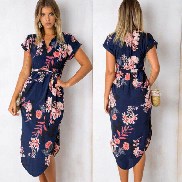 Summer Boho Floral Long Maxi Dress