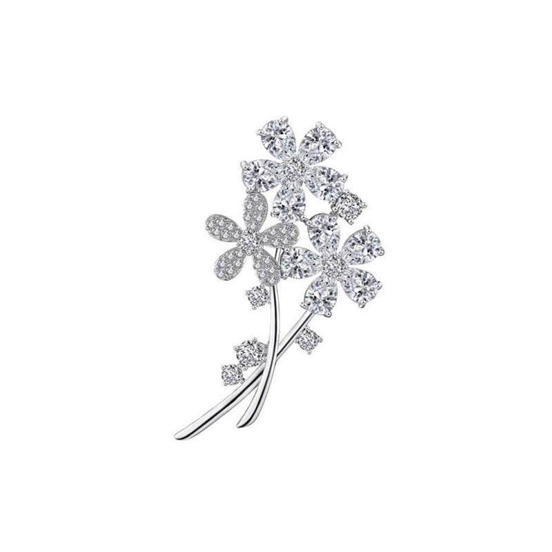 Floral Bunch Brooches Forest Platinum plated