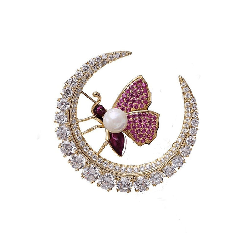 Moonlight Serenade Brooches Forest 18k yellow gold plated