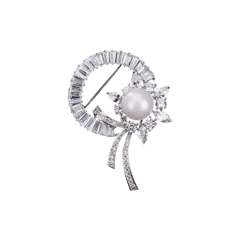 Pearl Rosette Brooches Forest Platinum plated