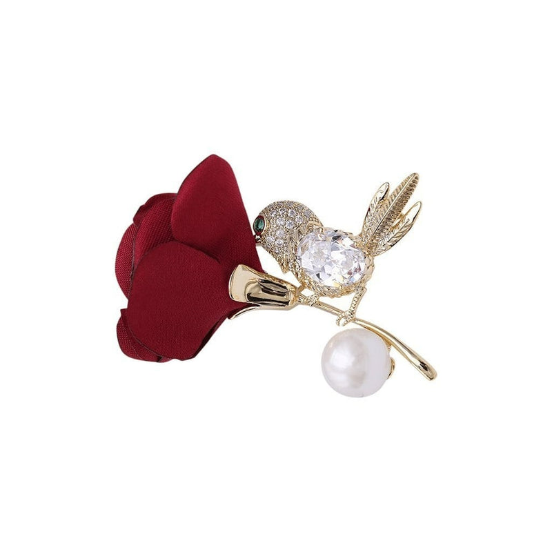 Rose and the Hummingbird Brooches Forest 18k yellow gold plated