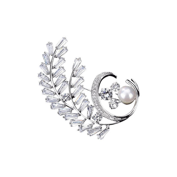 Silver Fern Brooches Forest Platinum plated