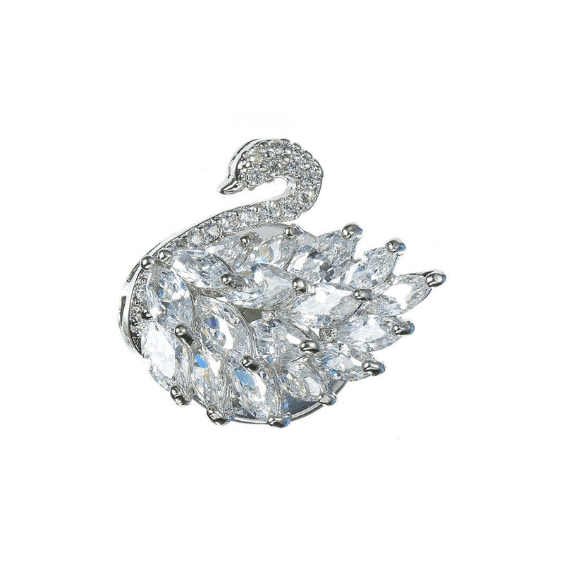 Swan Brooches Forest Platinum plated