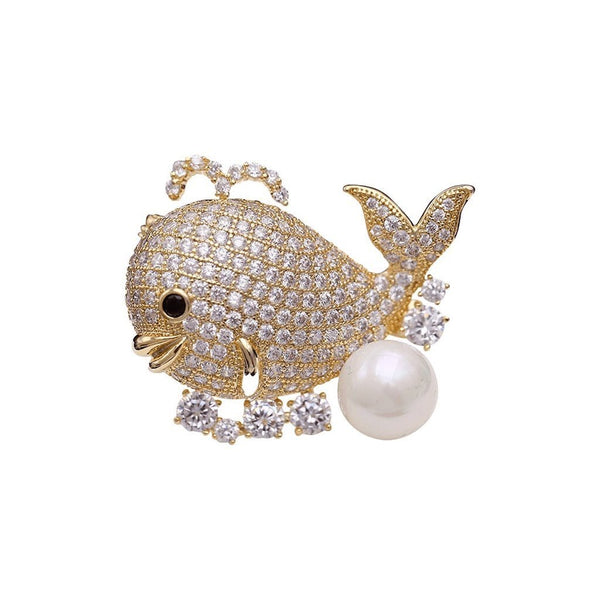 Whale Brooches Forest 18k yellow gold