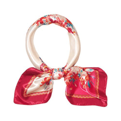 Flowers Ablaze Scarves Forest White base with red details