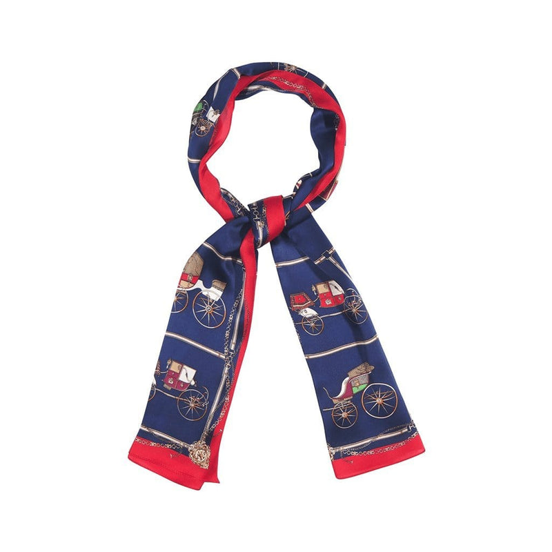 Automobile Mania Scarves Forest Navy blue with red border