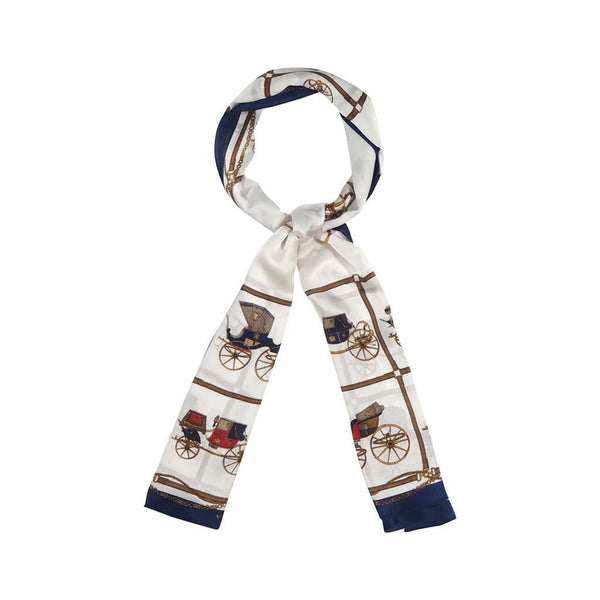 Automobile Mania Scarves Forest White with navy blue border