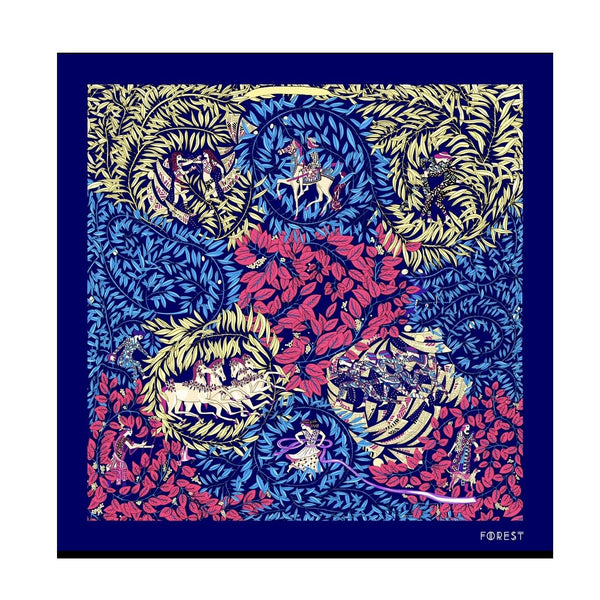 Dravidian Dream Scarves Shop At Forest Dark Blue Floral Kaleidoscope