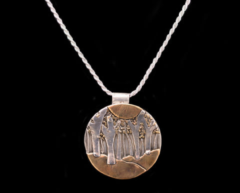 Aspen Trees in Fall Large Necklace