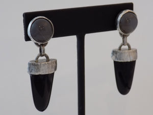 Moonstone and Onyx Earrings