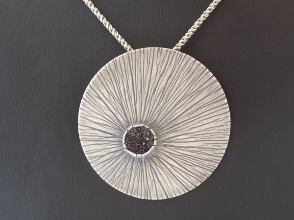 Sterling Silver Large Radiating Pendant with Black Druzy