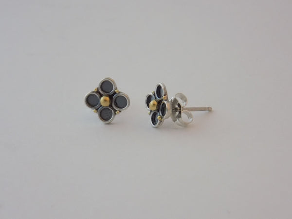 Flower Earrings in Argentium Silver and 22k Gold