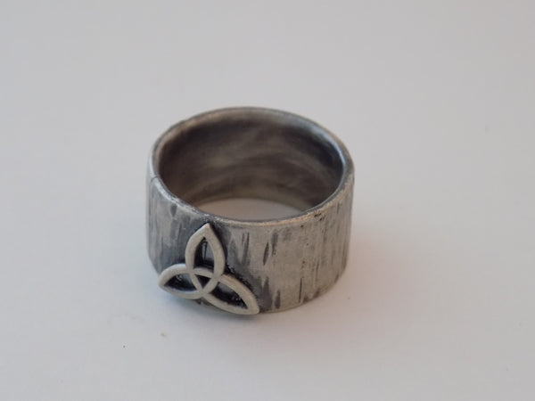 Celtic Triquetra Wide Band Ring
