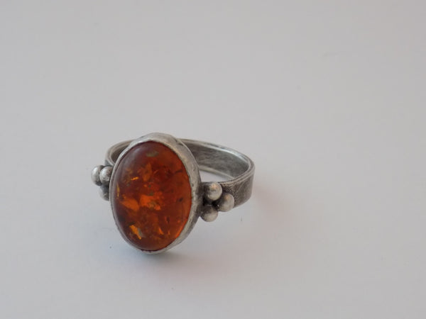 Sterling Silver and Amber Ring - Size 12.5