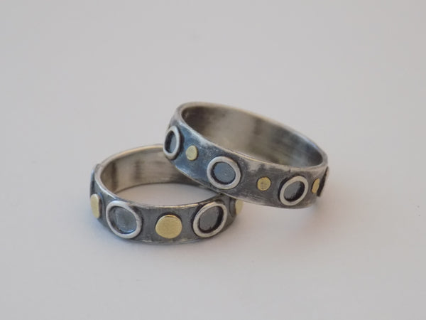 Argentium Silver Ring with 22K Gold Dots