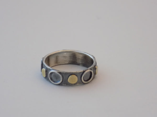 Argentium Silver Ring with 22K Gold Large Dots