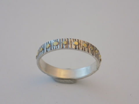 Argentium Silver and 22k Gold Textured Band