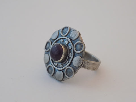 Argentium Silver Saucer Ring with Amethyst - Size 8
