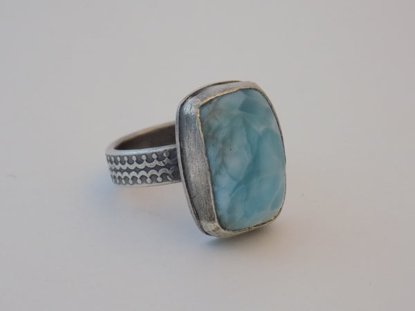 Sterling Silver and Larimar Ring - Size 9.75