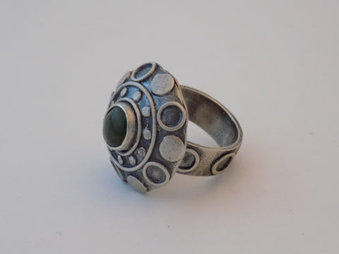 Argentium Silver Domed Saucer Ring with Jade - Size 7.5