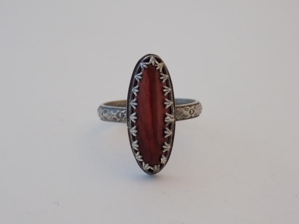 Sterling Silver and Mookaite Jasper Ring - Size 7