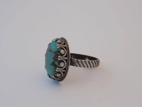 Sterling Silver and Turquoise Ring - Size 8