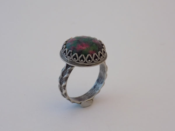 Sterling Silver and Ruby in Fuchsite Ring - Size 9.5