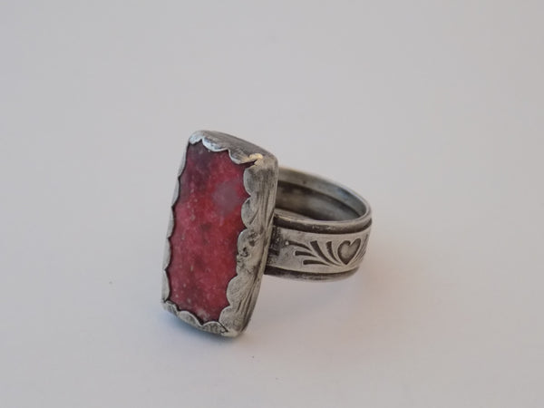 Sterling Silver with Dark Pink Thulite Ring - Size 10