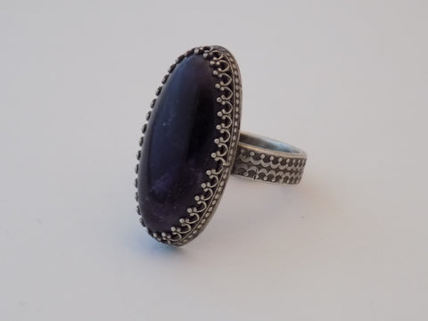 Sterling Silver and Amethyst Ring - Size 8